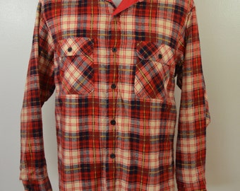 Vintage JC PENNEY plaid cotton flannel shirt LINED Size Large usa made 1970's