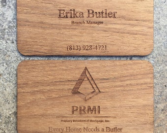 100 Laser Cut Teak Business Cards -- Laser Engraved with Your Graphics / Logo