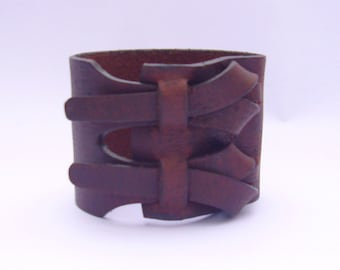 Double Cuff in Dark Brown by Muse 2 inches / Free shipping