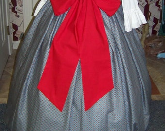 Civil War Victorian Long drawstring Skirt Country Blue with Red check print and Red Sash one size fit all