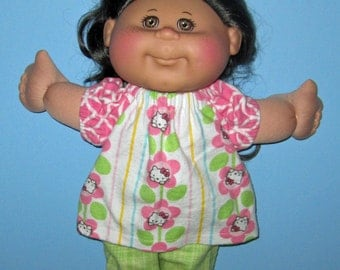 "Cabbage Patch Kids  Doll Clothes Hello Kitty Flannel Pajamas Set  14""  or 15"" Doll Adoptimals  Girl Doll"