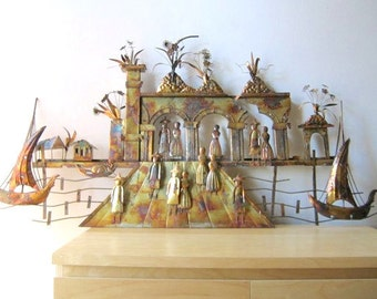 mid century metal wall sculpture style of Jere it takes a village ships ruins