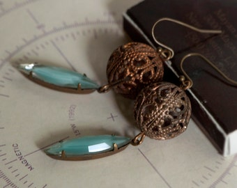 Vintage Brass Filigree With Turquoise and White Glass Drop Earrings