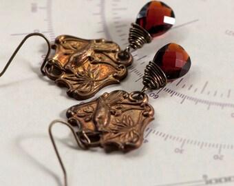 Wire Wrapped Red Garnet Quartz Briolettes With Vintage Brass Bird Connectors