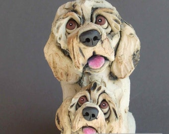 Labradoodle or Goldendoodle Mother Dog and Puppy Ceramic Sculpture