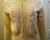 1950s Beaded Cream Lambs Wool & Angora Cardigan