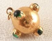 Antique 14K Gold Glass Green Stone Ball Charm
