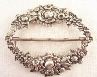 Antique Victorian Sterling Floral Repousse Buckle for Crafting