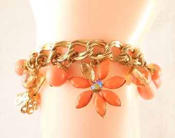 Vintage Faux Stone and Coral Dangles with Rhinestones Gold Tone Costume Bracelet