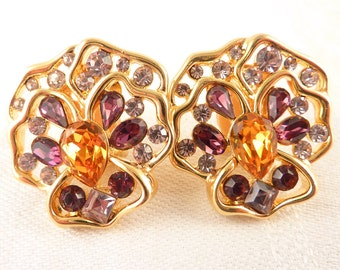 Vintage Nolan Miller Gold Plated Openwork Gemstone Pansy Clip On Earrings