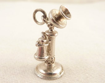 Vintage Sterling Old Fashioned Telephone Charm