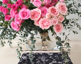 Black Peony sequins Lace Clutch | Bridal and Bridesmaids Black champagne and Light Rose Gold Clutch