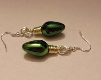 Christmas Light Bulb Earrings, Christmas Earrings, Green Earrings, Dangle Christmas Earrings
