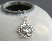 sterling silver realistic lotus flower necklace small floral charm zen yoga yogi jewelry simple layering petite delicate dainty pendant 5/8