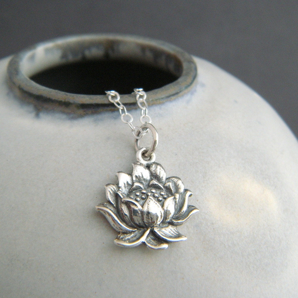 Sterling Silver Realistic Lotus Flower Necklace Small Floral