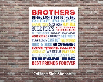 Brothers Wall Art, Brothers Sign, Brothers Room Decor, INSTANT DOWNLOAD, YOU Print, Playroom Wall Art, Brothers Playroom Wall Art, Brothers