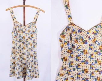 1930s swimsuit vintage 30s AS IS floral print fabric bathing suit S