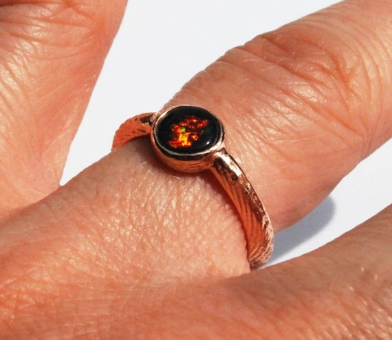 Solid Rose Gold Cuttlefish Cast and Black Opal Solitaire Ring
