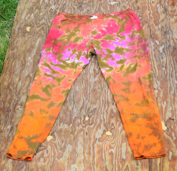 Volcano Ombre Scrunch on Bronze Leggings (Dharma Trading Co. Deluxe Cotton Leggings with Spandex Size XL) (One of a Kind)