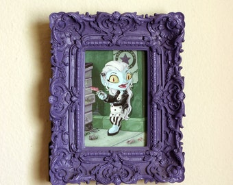 ORIGINAL PAINTING- Dear Prudence - Framed 4x6 inch Vampire Girl Gouache Painting