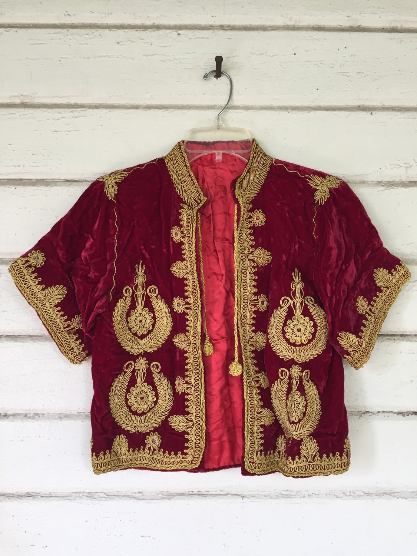 Vintage silk velvet embroidered jacket bohemian gold coat