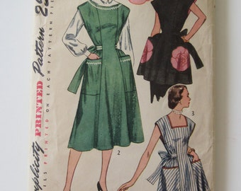 Simplicity Vintage 1951 Housedress Apron Pattern Size 14