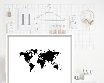 World Map Print, Office Decor, Wall Art, Black & White, 8.5x11