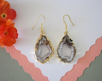 Geode Earrings Gold, Crystal Slice Earrings, Agate, BoHo Jewelry, Druzy Gold Earrings, Drusy Earrings, GGE41