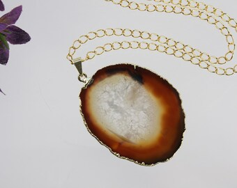 Brown Agate Pendant, Agate Necklace, Agate Slice, Boho Jewelry, Gold Plated Agate, Layered Necklace, Boho Necklace, APS95