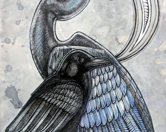 Original Great Blue Heron and Raven Art by Lynnette Shelley