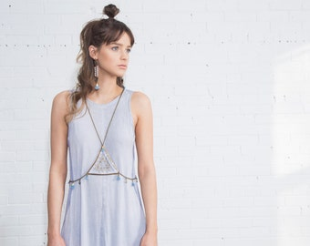 Body harness jewelry - Hey Day - white lace & denim blue tassels with a variety of gold and bronze vintage chains