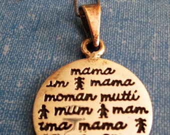 NECKLACE - JRI - MAMA -  Mother - in many langwiches - Sterling Silver -  17 inch  necklace236