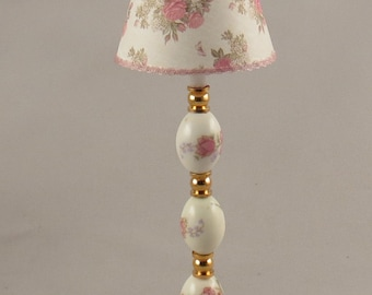 Dollhouse Miniature Lighted Ceramic Pink Floral Floor Lamp