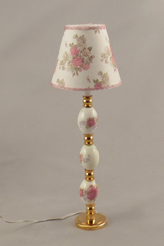 Dollhouse miniature lighted ceramic pink floral floor lamp for Led flower floor lamp
