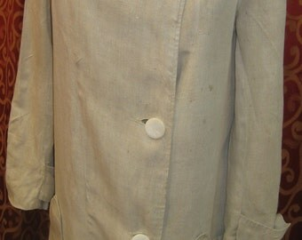 "1915-1920, 36"" bust, woman's ecru linen duster car coat."