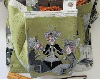 KNITTING BAG APRON - Made to Order - Alexander Henry 2010 Ghastlie Night Knitters - Please allow 3 weeks for delivery