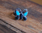 Vintage Turquoise and Black Stone Butterfly Ring- Size 6