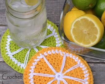 Crochet pattern coasters Lemonade and Limeade  Lemon crochet pattern Lime crochet pattern INSTANT PDF DOWNLOAD picnic kitchen crochet knit