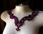 Purple Plum Lace Applique for Garments, Costumes, Lace Necklaces CL 204