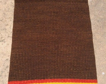 Brown Rug, Handwoven, with Gold and Rust Stripes