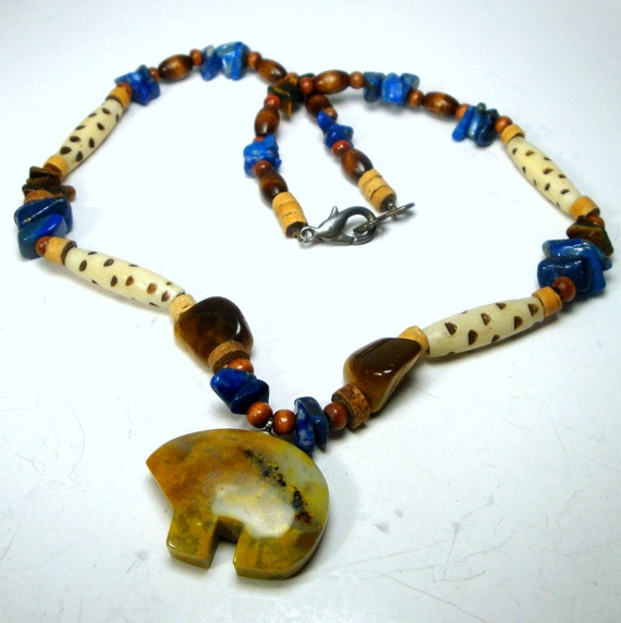 bear fetish necklace w bone and stone beads 1990s ooak r ForJewelry Stores In Bear Delaware
