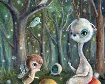 Surreal Unicorn Art Print, Fantasy Enchanted Forest, Owl, Fairy Bear Pop Surrealism, Lowbrow Children's Decor, Nursery Art