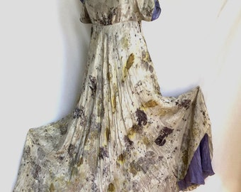 Natural dyed Eco printed  silk dress, Natural Dyeing on Silk, Contact printing, Eco leaf flower natural dyeing, Eco Friendly Summer Silk