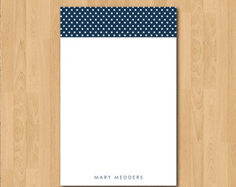 Personalized Navy Swiss Dot Notepad Teacher Gift Coworker Gift or Office Supply