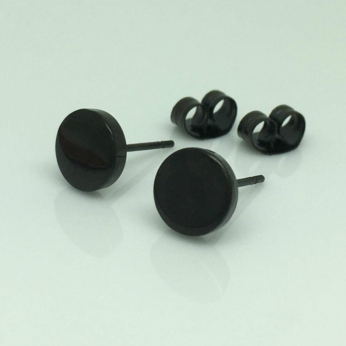 mens earrings burly steel disc mens black steel stud