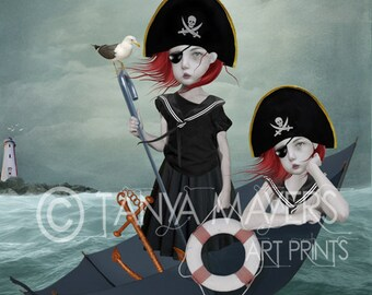 A3 Art print - Goth Girl Art - Big Eyes Art - Large Print - Set Sail