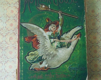 Antique Mother Goose Complete Melodies Children's Book Illustrated