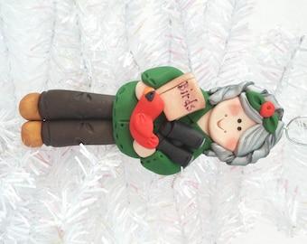Bird Watcher Gift - Bird Watcher Christmas Ornament - Bird Lover Ornament - Ornithologist Gift - Polymer Clay Bird Watcher  - 8141