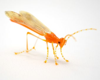 Bright Orange Ichneumon Wasp - lifelike lampworked glass realistic wasp figurine sculpture made by Glass Artist Wesley Fleming