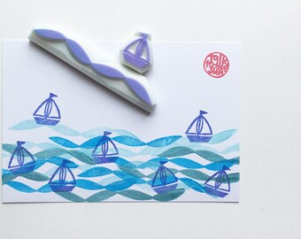 sailing boat and wave stamp set - yacht in ocean hand carved rubber stamps - diy birthday scrapbooking - summer crafts - set of 2